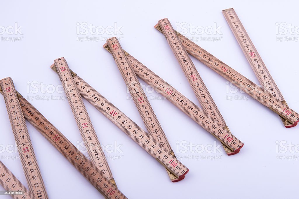 folding rule on white background stock photo