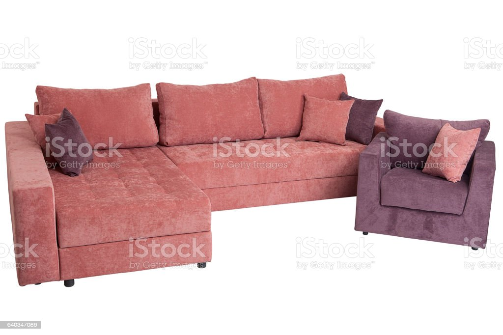 Folding Sofa Bed Of Pink Color Fullsize Isolated On White Stock ...