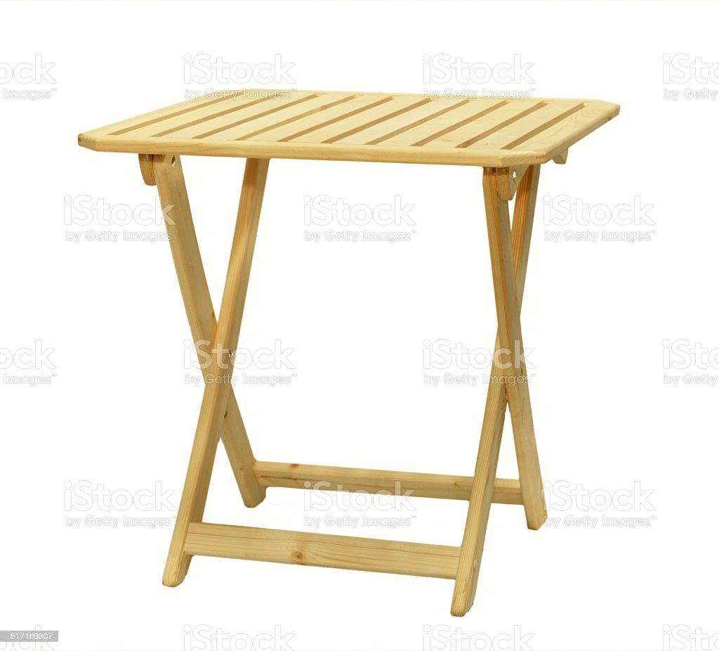 Plegable mesa de madera, sobre un fondo blanco - Foto de stock de Aire libre libre de derechos