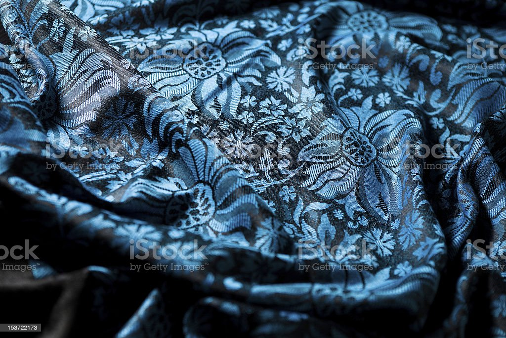 folds of black-and-blue cashmere cloth royalty-free stock photo