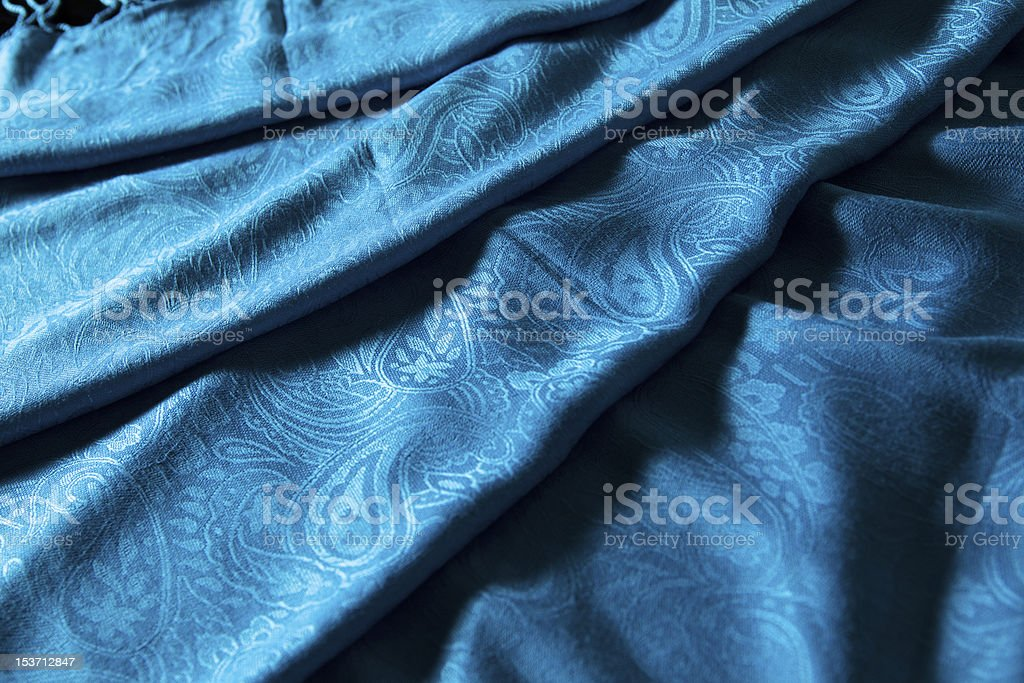 folds of blue cashmere cloth royalty-free stock photo