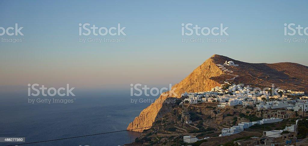 Folegandros at sunset stock photo