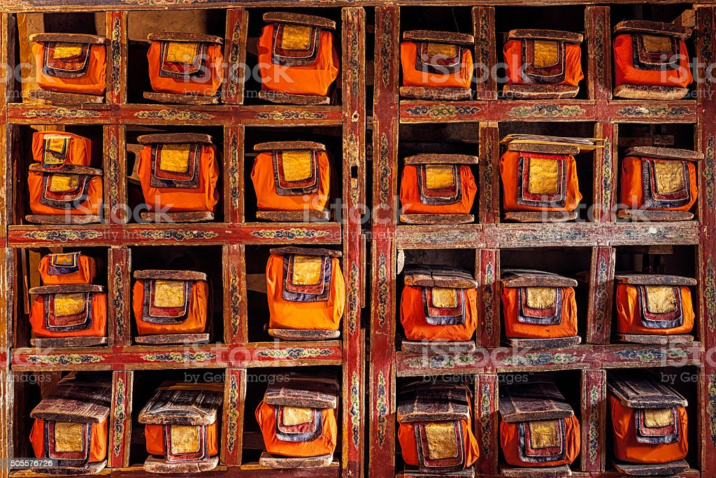 Folios of old manuscripts in Buddhist Monastery stock photo