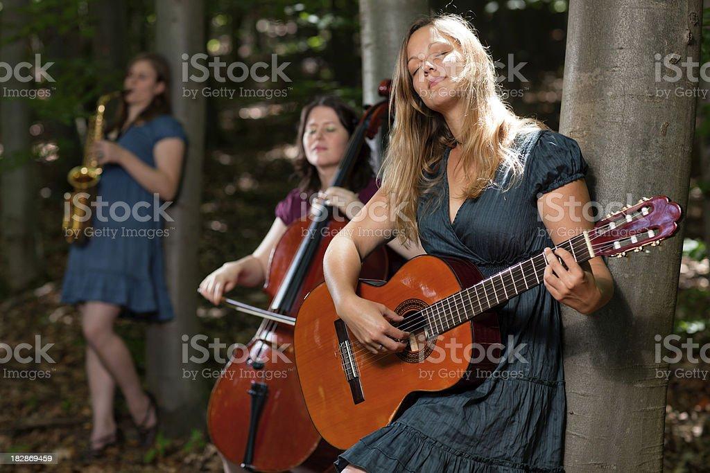 folk band in wood stock photo