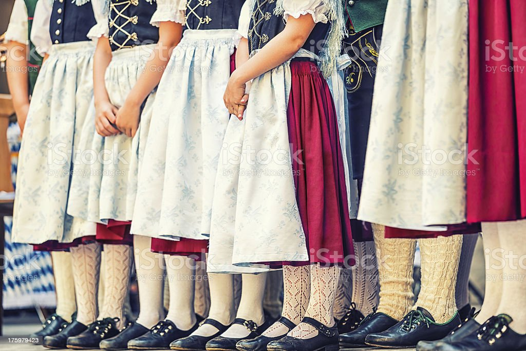 Folk dance group with children is waiting stock photo