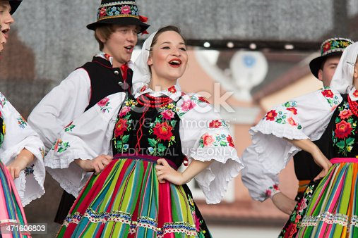 Lowicz, Poland, May 30, 2013: Groups of folk dancers from the city of Lowicz in central Poland. Dancers present folk dance and are dressed in colorful traditional costumes. The show was held on the stage at the Old Market in Lowicz (Lodzkie Province).