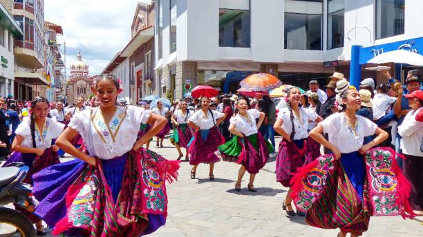 아즈마이 주 민속 댄서, 에콰도르 - 에콰도르 뉴스 사진 이미지