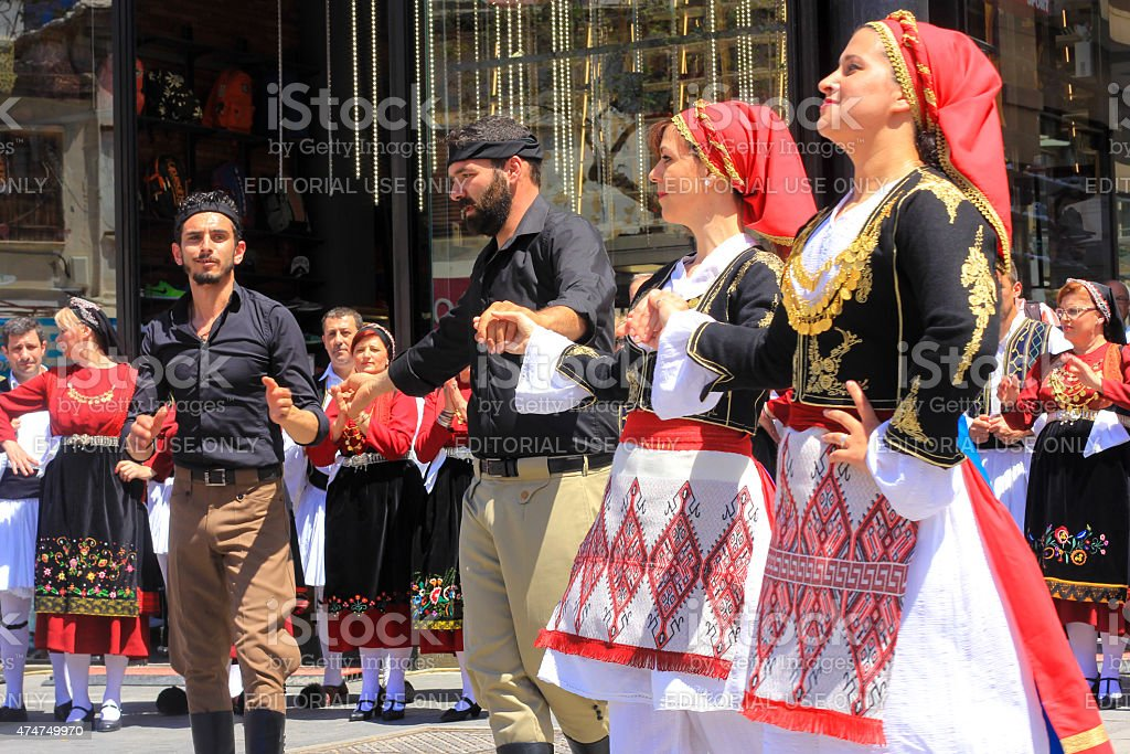 Folk Dancing in Heraklion, Greece stock photo