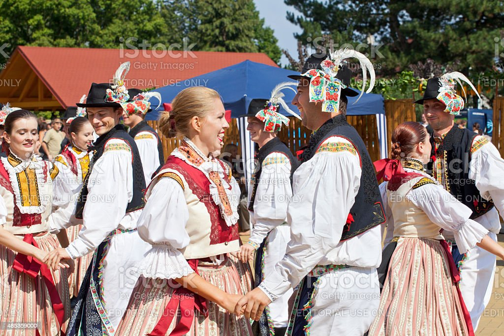 Folk ensemble  dancing and singing stock photo