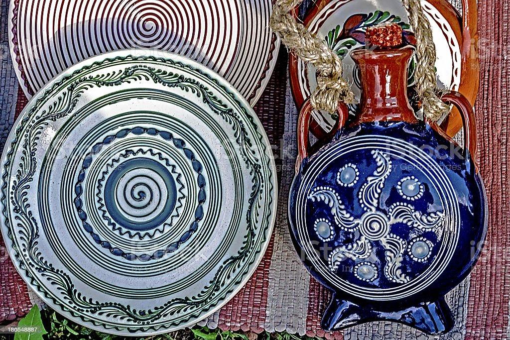 Folk pottery royalty-free stock photo