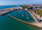 Aerial View of Folkestone Harbour, Kent taken by UAV, drone, on a sunny winters day.