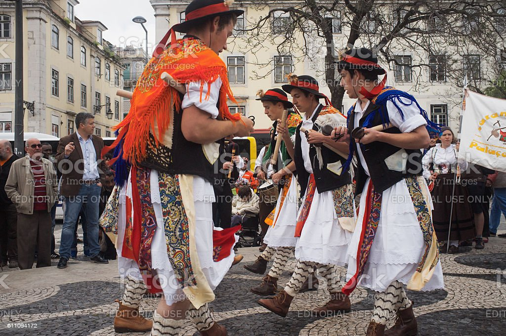 Folklore Group Dancing in Lisbon stock photo