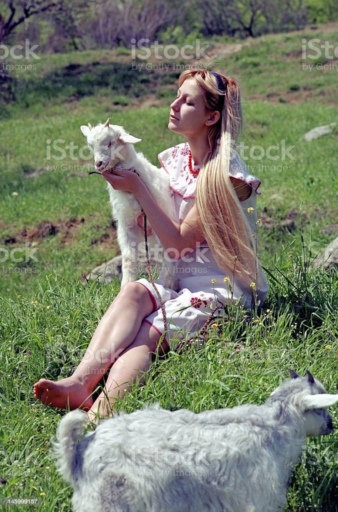 folklore woman with kid stock photo