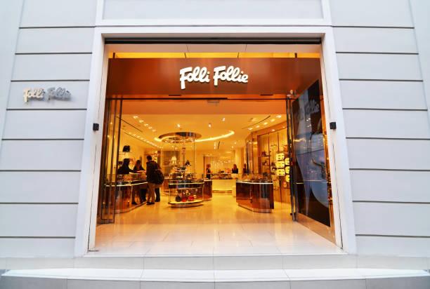 Folli Follie jewelry store at Ermou street Syntagma Athens Greece stock photo