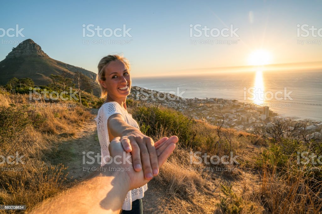 Follow me concept- This way to paradise royalty-free stock photo