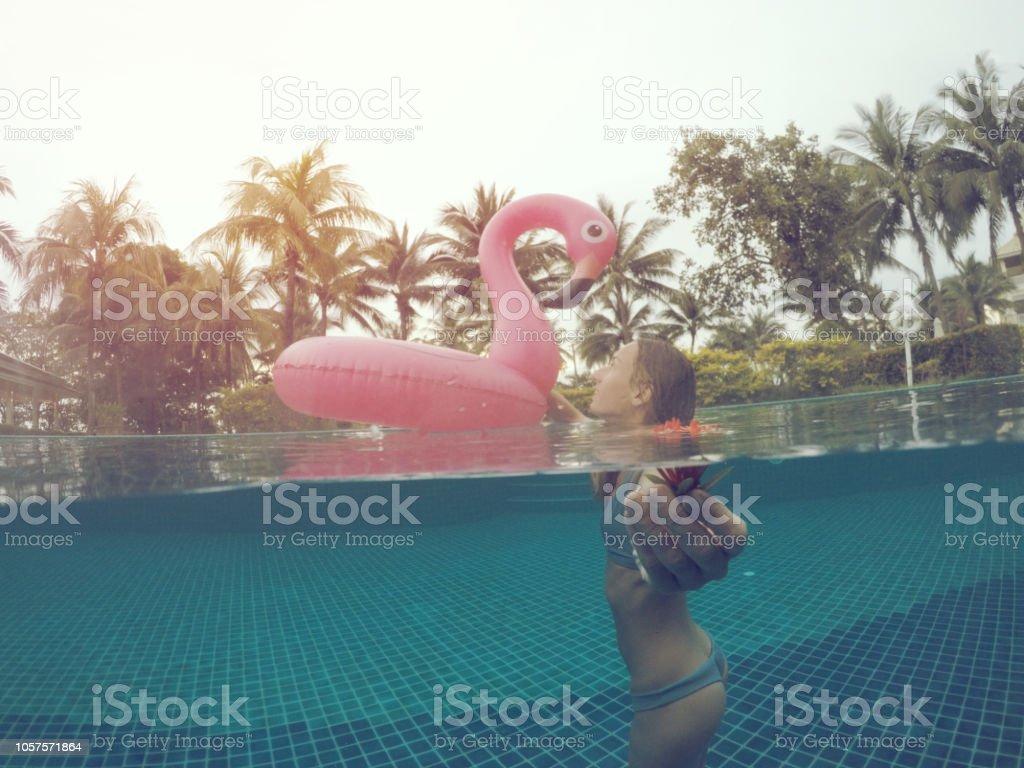Beau Follow Me Concept Woman Leading Boyfriend In Resort Swimming ...