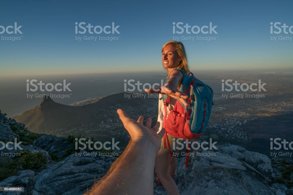 Follow me concept-Tavel to Cape Town stock photo
