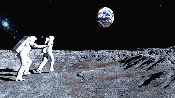 follow me on the moon - astronaut bildbanksfoton och bilder