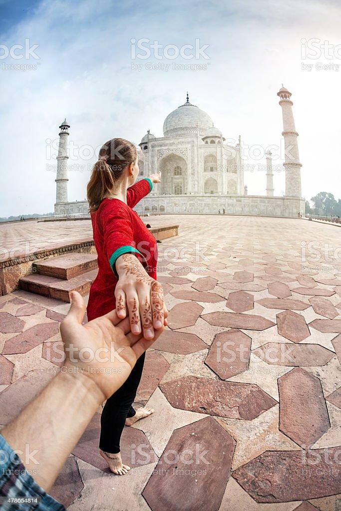 Follow me to Taj Mahal stock photo