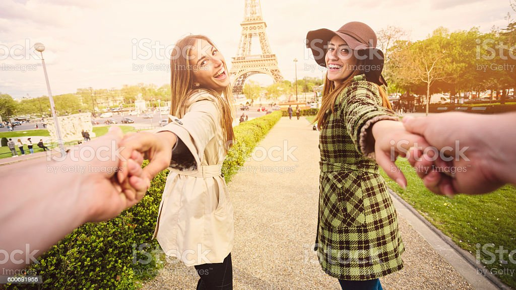 Follow me to the Eiffel Tower stock photo