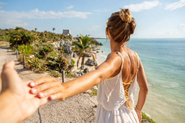 Follow me to Tulum stock photo