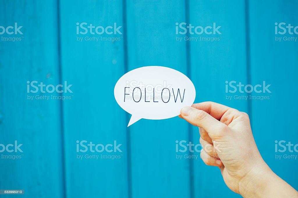 Follow speech bubble stock photo