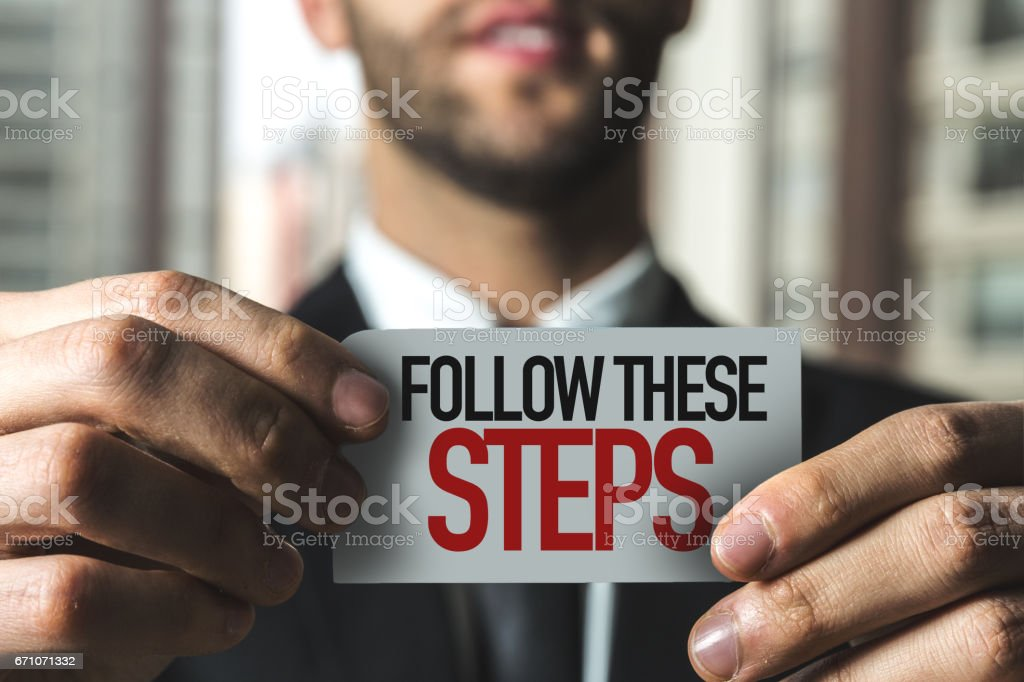 Follow These Steps stock photo
