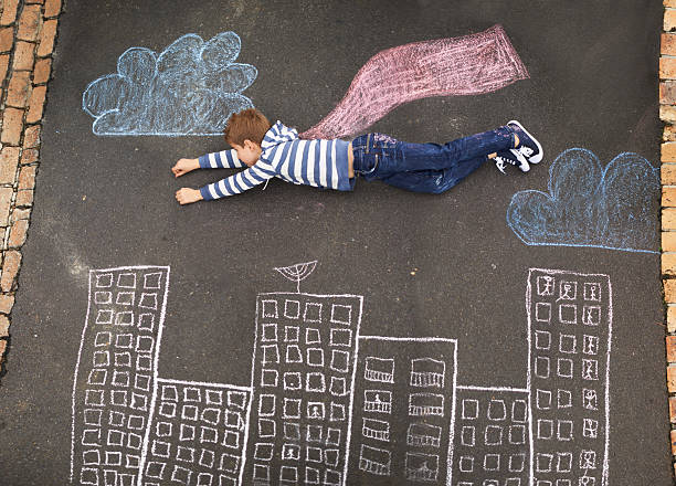 follow your dreams... - chalk drawing stock photos and pictures