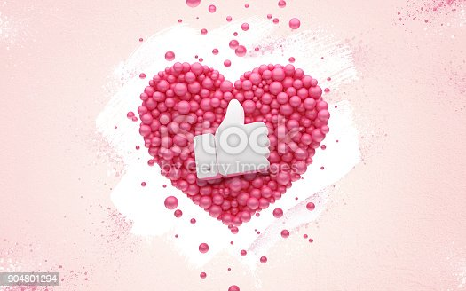 istock Followers thank you Pink heart and red balloons, ball. 3D Illustration for Social Network friends, followers, Web user Thank you celebrate of subscribers or followers and likes. 904801294