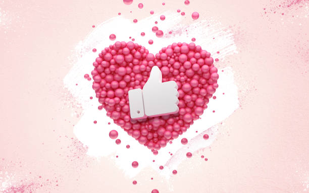 Anhängare tack rosa hjärta och röda ballonger, boll. 3D Illustration till vänner från sociala nätverk, anhängare, webbanvändaren tack fira prenumeranter eller anhängare och gillar. bildbanksfoto