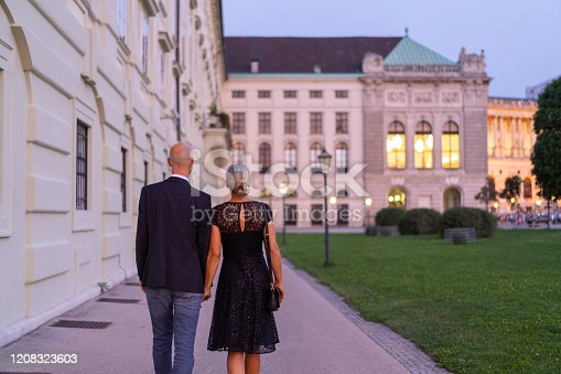 rear view of adult couple walking together hand in hand through historical center of vienna on summer evening on their way to dinner party in city, shallow focus, background blurred, place for text