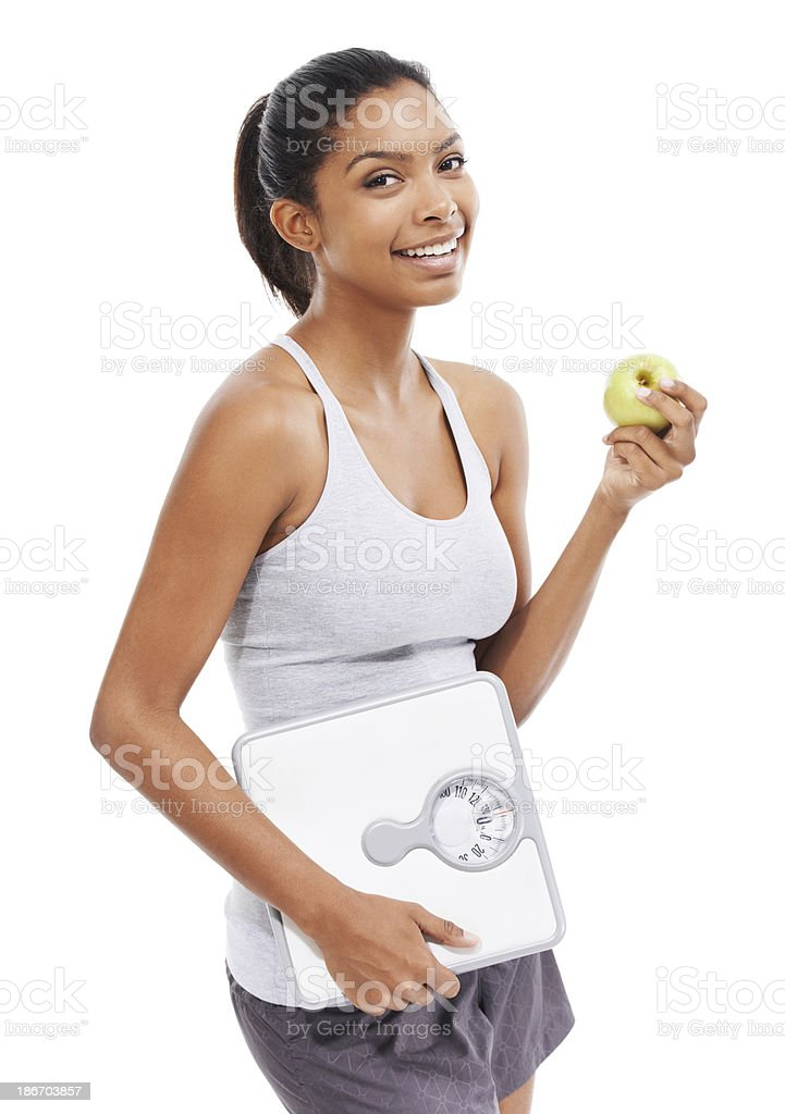 Following her diet - and feeling great! royalty-free stock photo