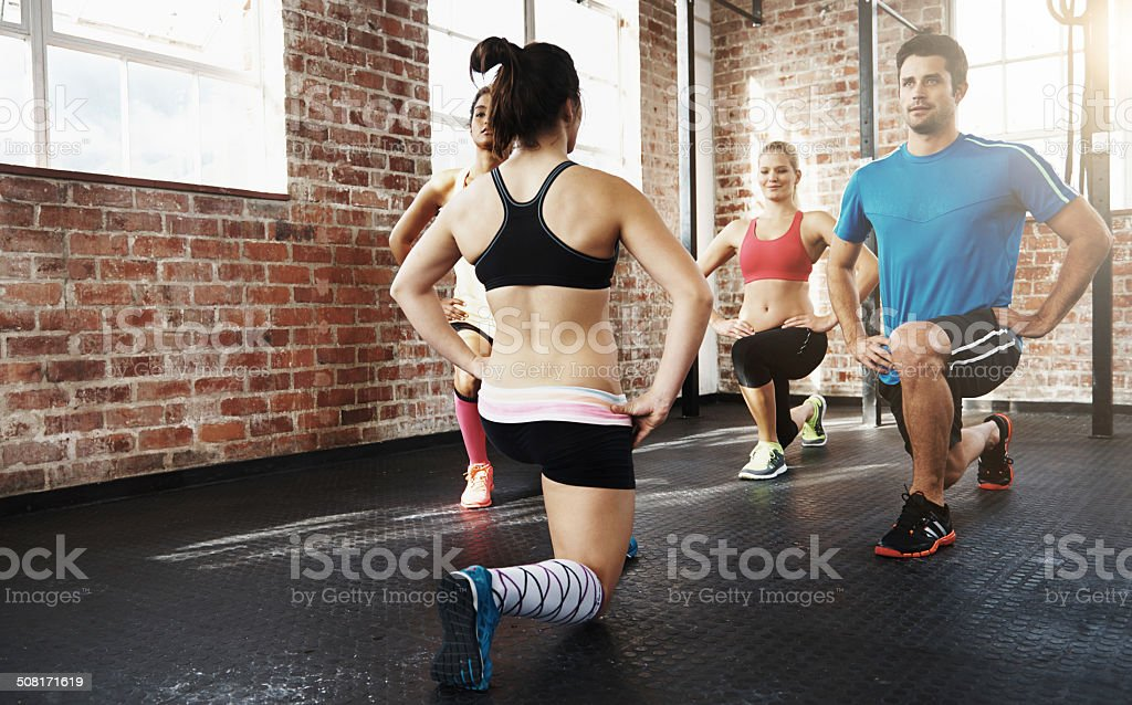 Following her lead in the lunge stock photo