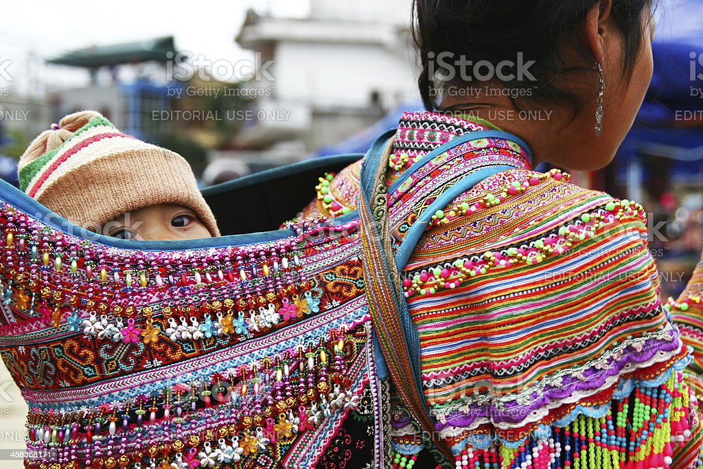 Following mother down to the market stock photo