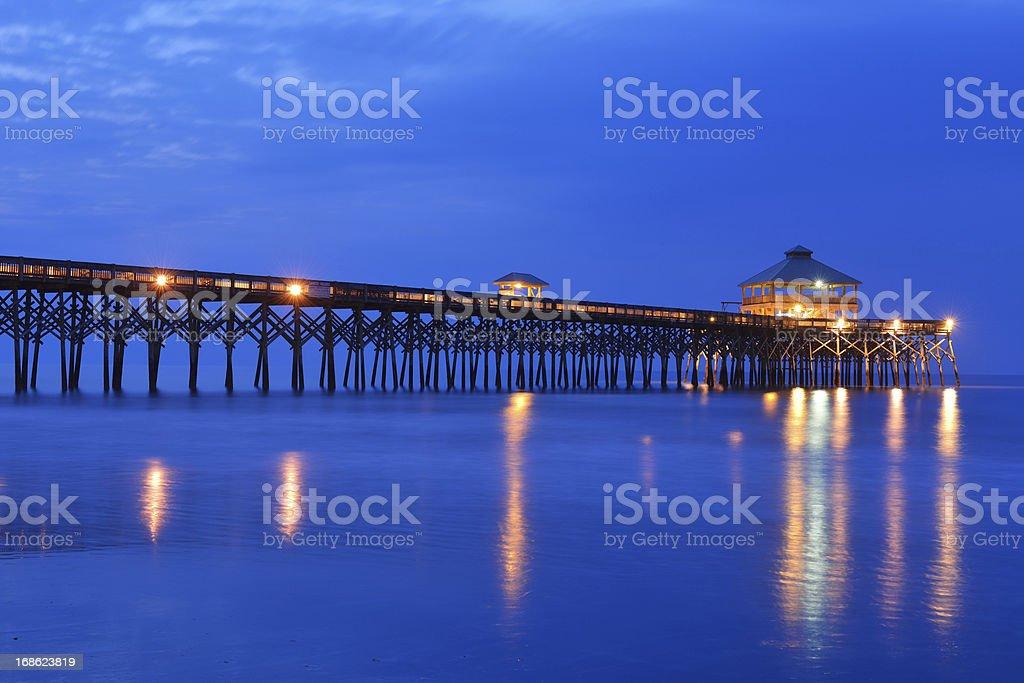Folly Beach Pier at Dawn royalty-free stock photo