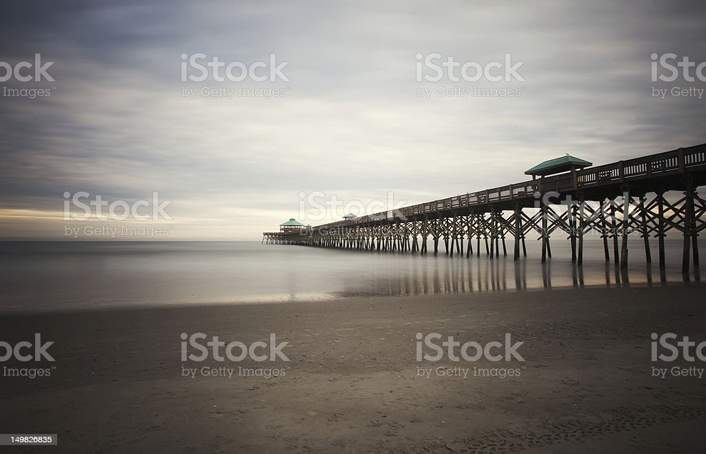 Folly Beach Pier Charleston SC Coast Atlantic Ocean stock photo