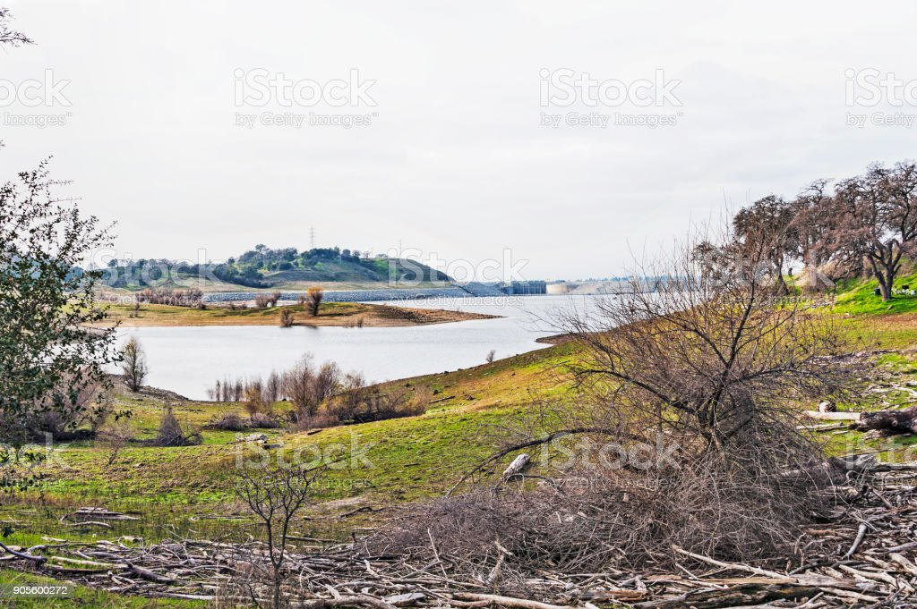 Folsom Lake Shoreline Lower Water and New Dam stock photo