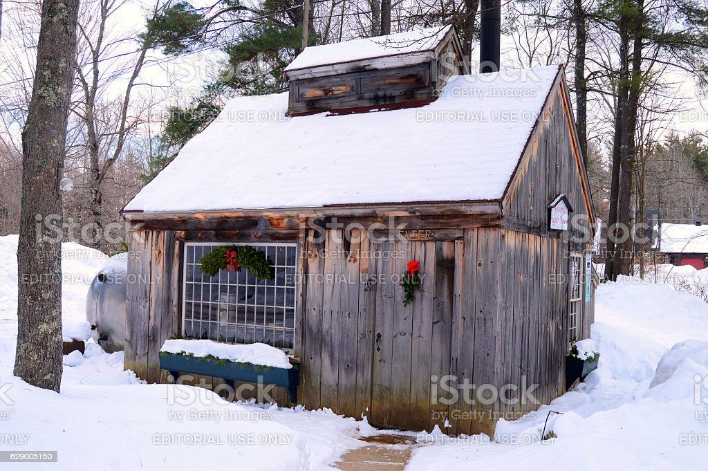 Folsom Sugar House in Winter, New Hampshire stock photo