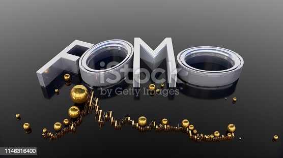 Fomo word as 3D text or logo concept. 3D rendering – Ilustration. Fomo mean fear of missing out.
