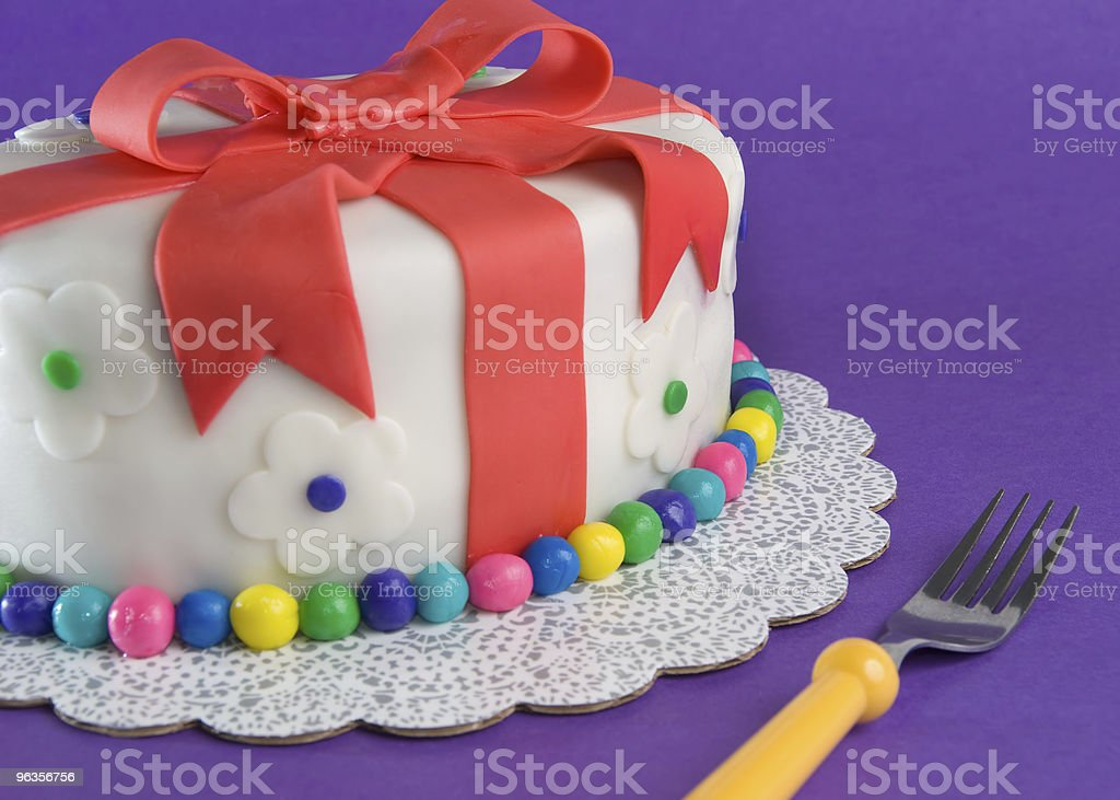 Fondant Gift Cake With Fork royalty-free stock photo