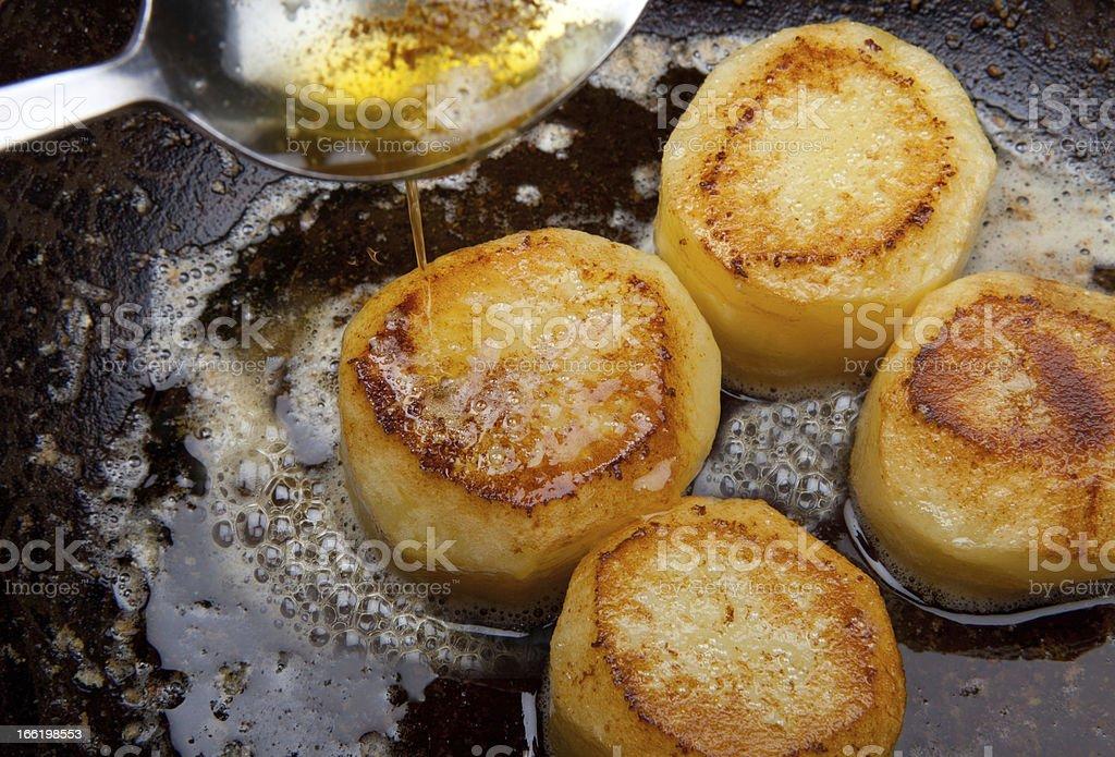 fondant potato frying sauce pan royalty-free stock photo