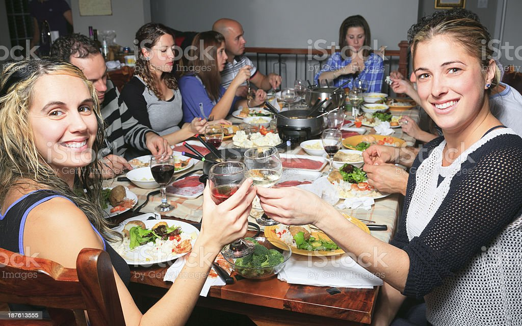 Fondue Dinner - Friend Social royalty-free stock photo