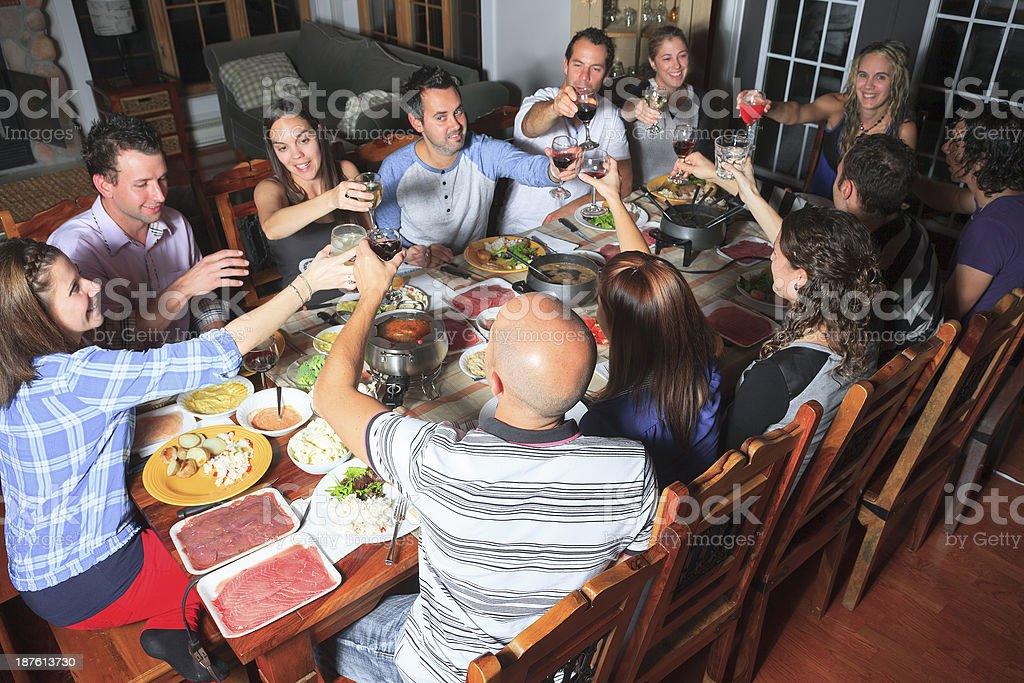 Fondue Dinner - Group Social royalty-free stock photo