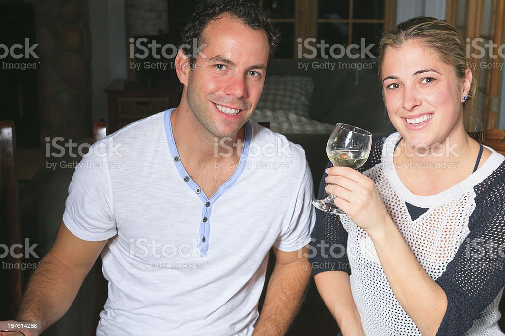 Fondue Dinner - Happy Couple royalty-free stock photo