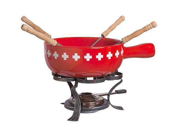 fondue, isoliert auf weiss - fondue stock-fotos und bilder