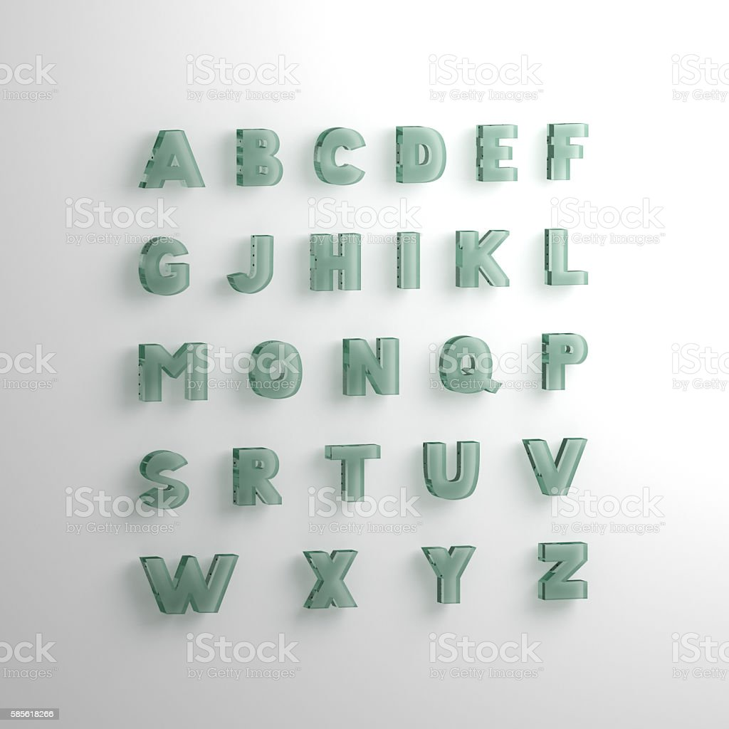 font 3D illustration, big letters standing stock photo