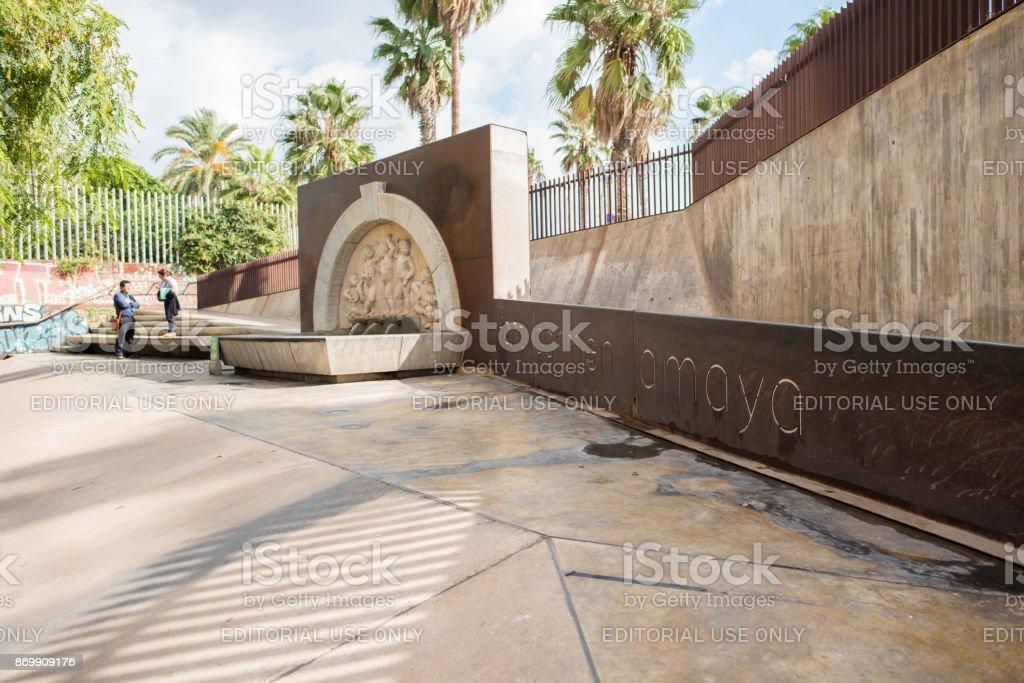 Font Carmen Amaya monument in Barceloneta, Barcelona stock photo