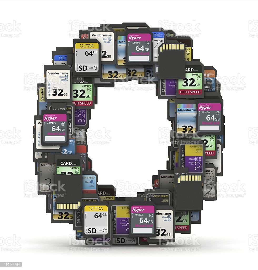 Font from memory cards, letter O stock photo