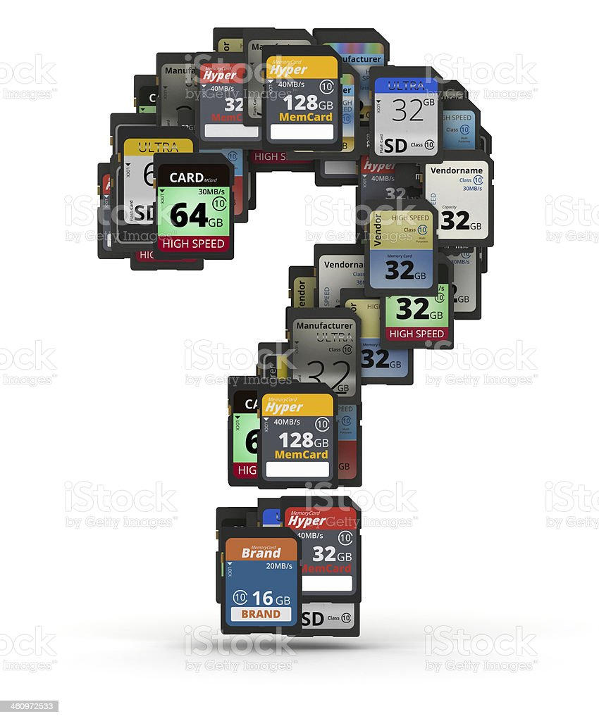 Font from memory cards, question mark sign stock photo
