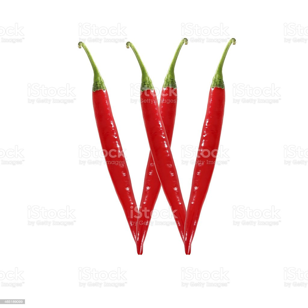Font made of hot red chili pepper - letter W stock photo